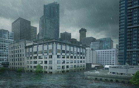 Rain Fall Cityscape
