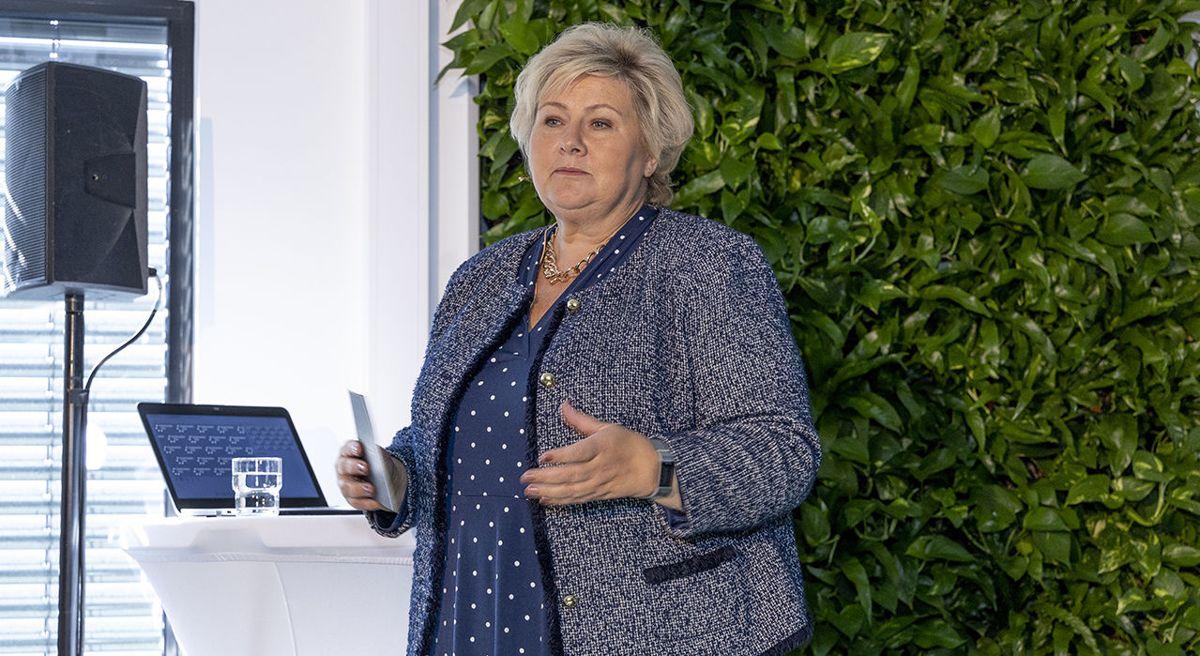 - Her vil kompetansedeling, innovasjon og bærekraft stå sentralt, sa statsminister Erna Solberg da hun åpnet CoLaben mandag denne uken. Foto: Morten Bendiksen