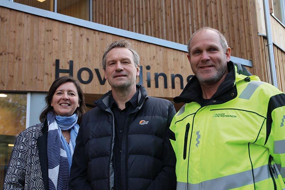 Prosjektleder Anette Dahl i Undervisningsbygg Oslo KF, byggeleder Tore Dahl i OPAK og prosjektleder Rune Bjørn Ekberg i Asker Entreprenør.