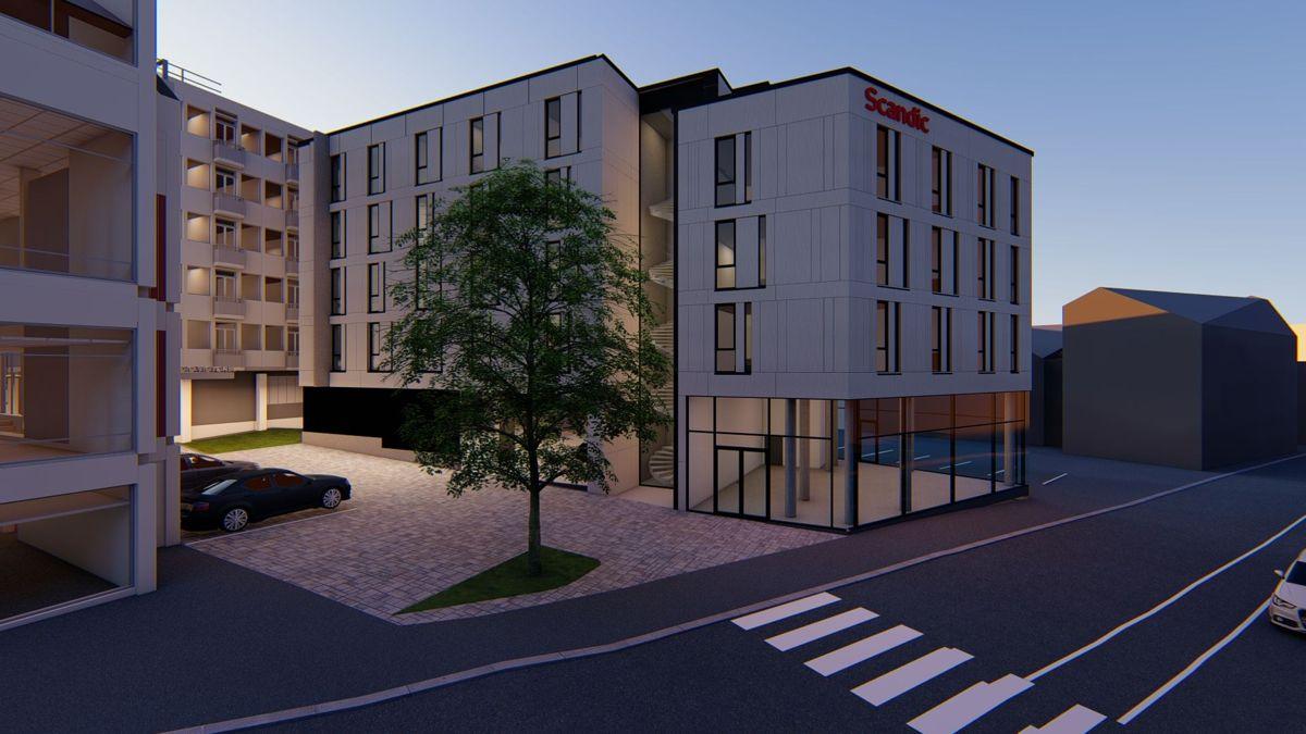 <p>Scandic Victoria i Lillehammer får en ny fløy med 56 rom. Samtidig skal eksisterende del av hotellet renoveres innvendig. Illustrasjon: StudioNSW</p>
