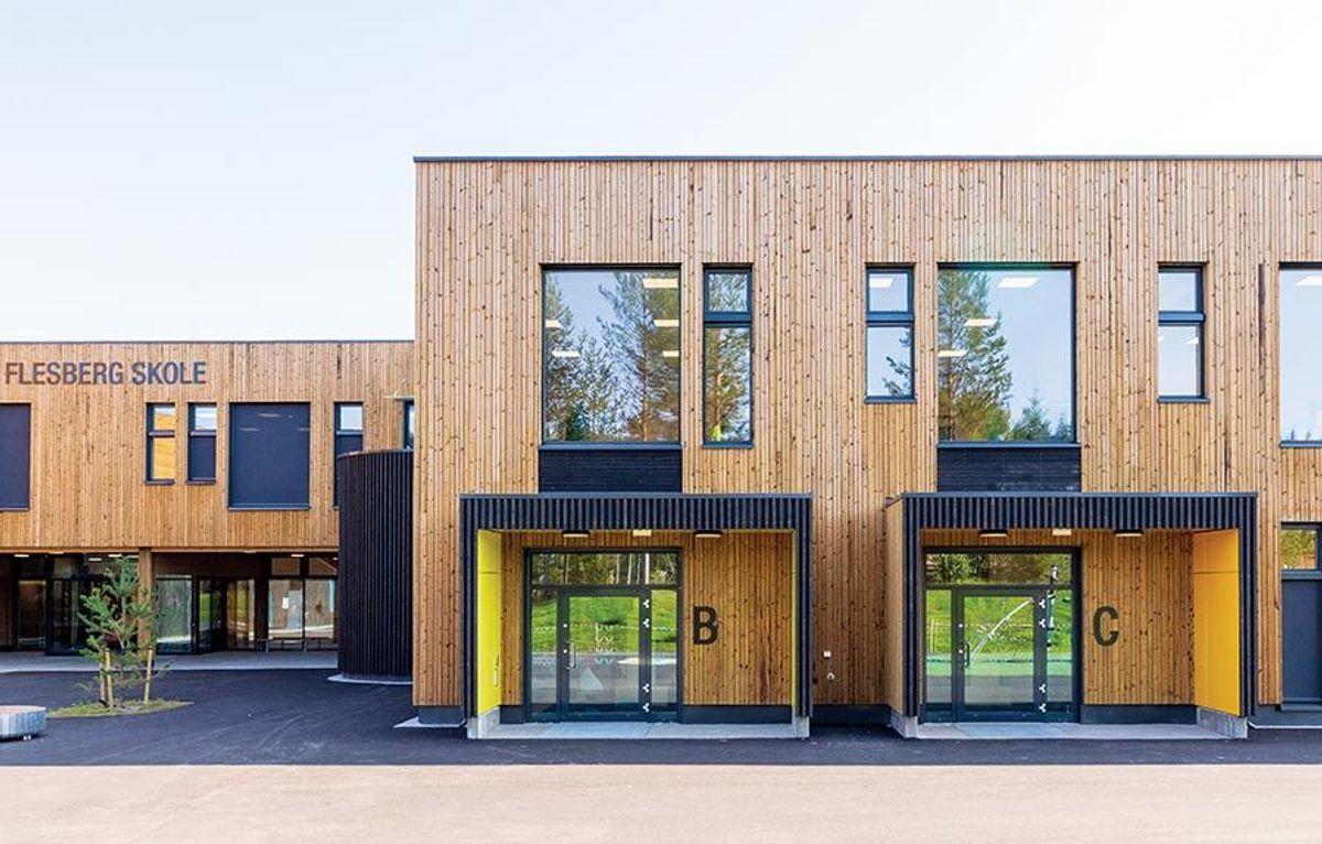 Skolen er på 9.222 kvadratmeter og dimensjonert for 420 elever. Foto: SPINN Arkitekter.