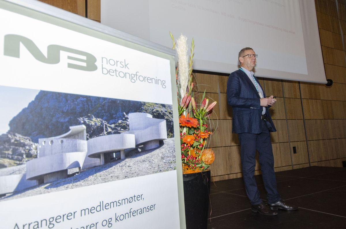 Styreleder i Norsk Betongforening Trygve Isaksen åpnet Norsk Betongdag onsdag.