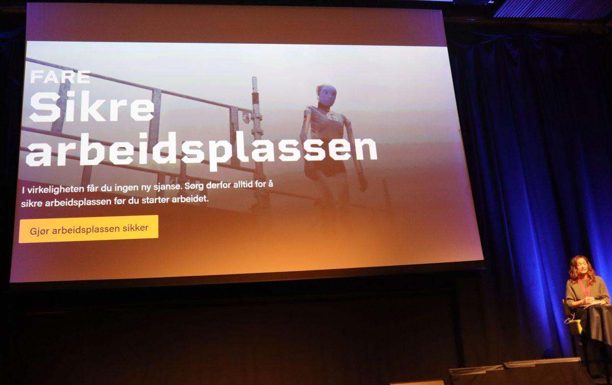 """Fra presentasjonen av det nye digitale sikkerhetskurset """"Fareblind"""". Foto: Svanhild Blakstad"""