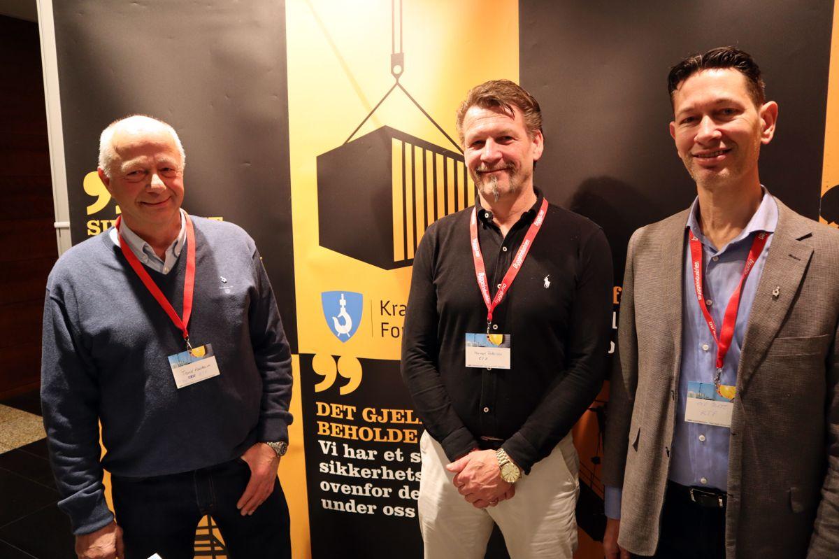 Kranteknisk forening på HMS-konferansen 2019. Fra venstre Trond Fossheim, Hermod Pettersen og Ole Lind Tufte. Foto: Svanhild Blakstad