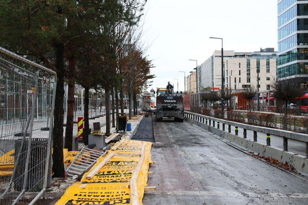 Hovedveinettet i Bjørvika er total transformert siden utbyggingen startet i 2003. Foto: Malin S. Strandberg.