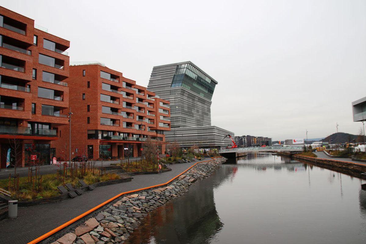BISPEVIKA: Den 500 meter lange Akerselvallmenningen strekker seg fra sporområdet på Oslo S, forbi Operaen og Munchmuseet helt ned til Sukkerbiten. Foto: Malin S. Strandberg.