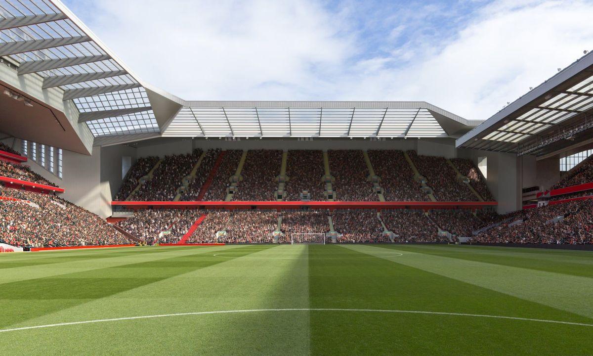 <p>Slik kan Anfield Road End se ut ved seriestart i 2022. Illustrasjon: Liverpoolfc.com</p>