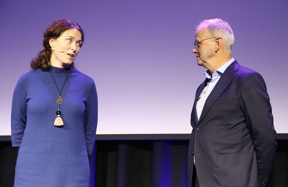 Styreleder Sissel Leire takket direktør Sverre Tiltnes for store innsatsen an har lagt ned i Bygge21.