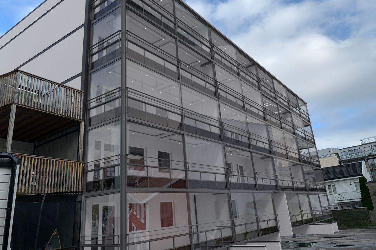 Slik skal borettslaget i Kristian 4. Gate 36 se ut etter rehabiliteringen. Illustrasjon: Balkongentreprenøren