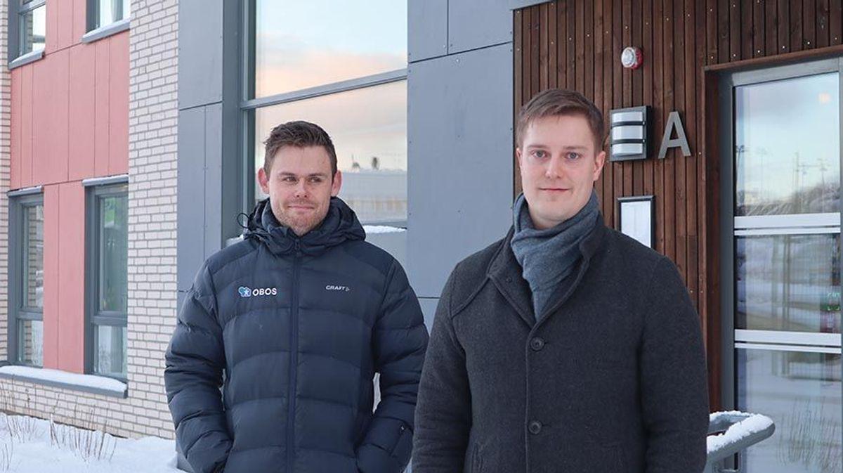 Oddvar Reiten fra OBOS (t.v.) og Glenn Jacobsen fra Skanska.