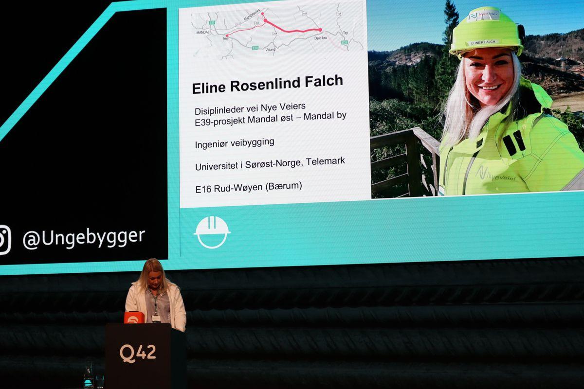ALLSIDIG JOBB: Eline Rosenlind Falch er vegingeniør og jobber i Nye Veier blant annet som dronepilot. Foto: Svanhild Blakstad