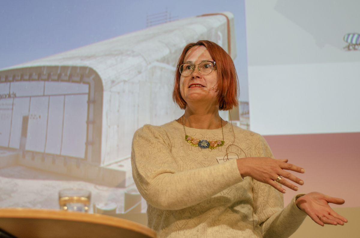 Berit Gudding Pettersen i Unicon kunne fortelle om betongprodusentenes del av jobben med å sørge for høyere grad av ombruk og resirkulering av betong.