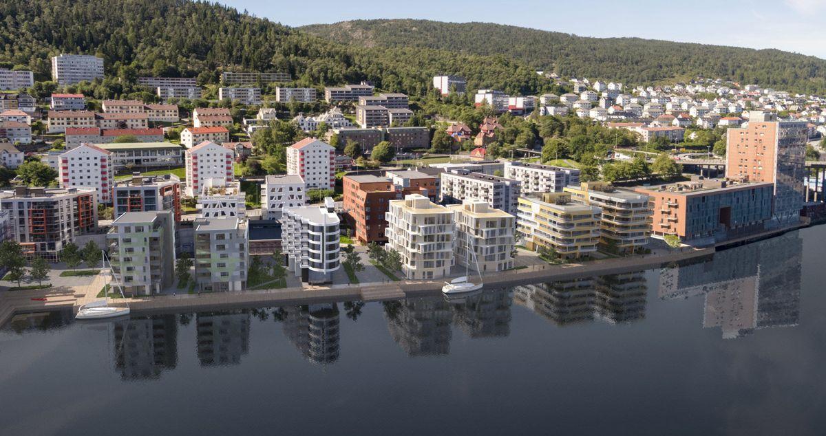Kranen er blant de første BREEAM-sertifiserte leilighetsprosjektene i Bergen. Ill. Snølys AS