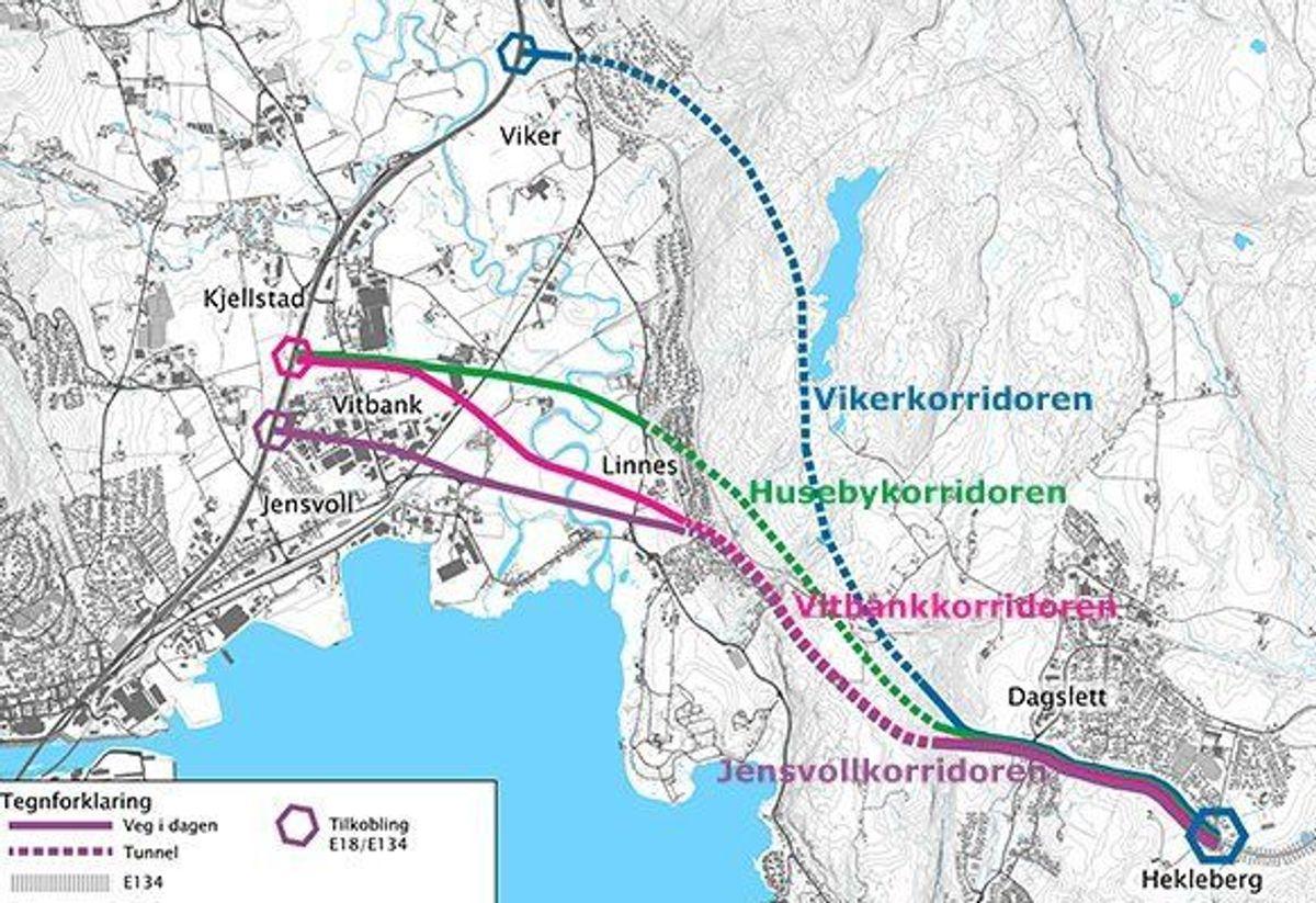 Fire aktuelle korridorer mellom Dagslett i Spikkestad og E18 i Lier vurderes. Illustrasjon: Statens vegvesen