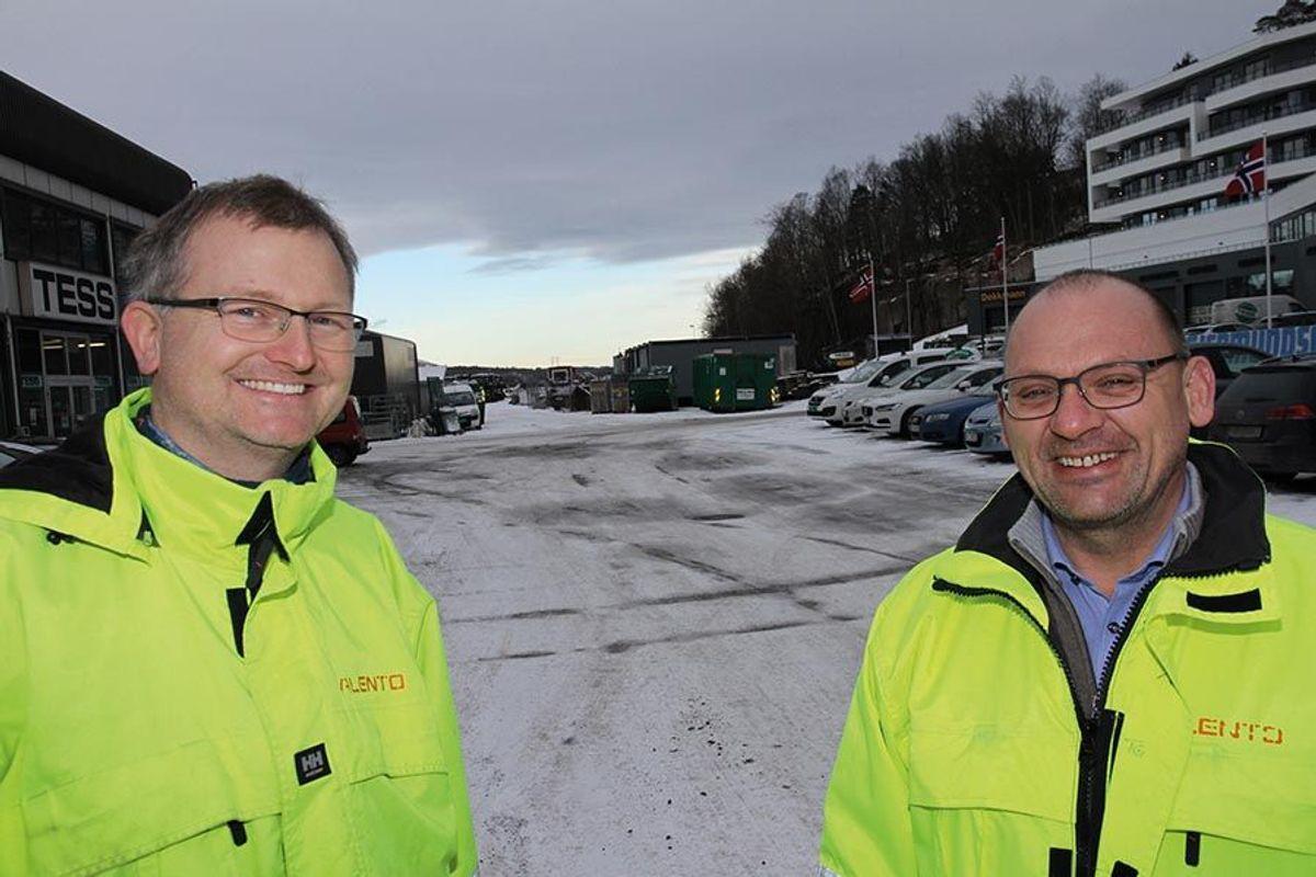 Prosjektleder Thomas Giessler (til høyre) og prosjekteringsleder Uwe Antoscheck i Alento AS.