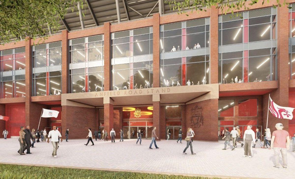 På utsiden av Anfield Road End-tribunen. Illustrasjon: liverpoolfc.com