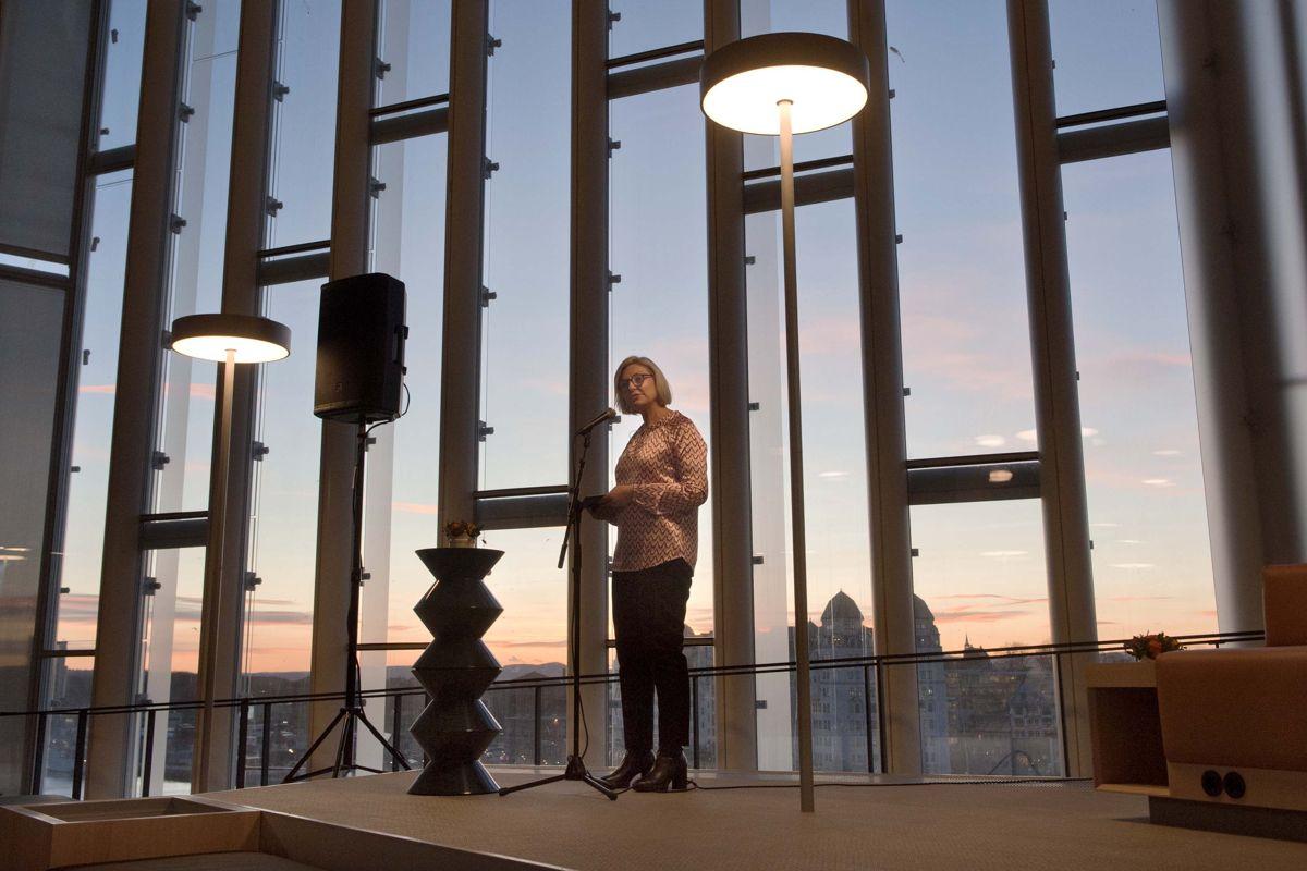 - Det har vært et svært godt samarbeid mellom ulike faggrupper for få dette til, sa direktør Eli Grimsby i Kultur- og idrettsbygg som er byggherre for det nye hovedbiblioteket. Foto: Ken Opprann