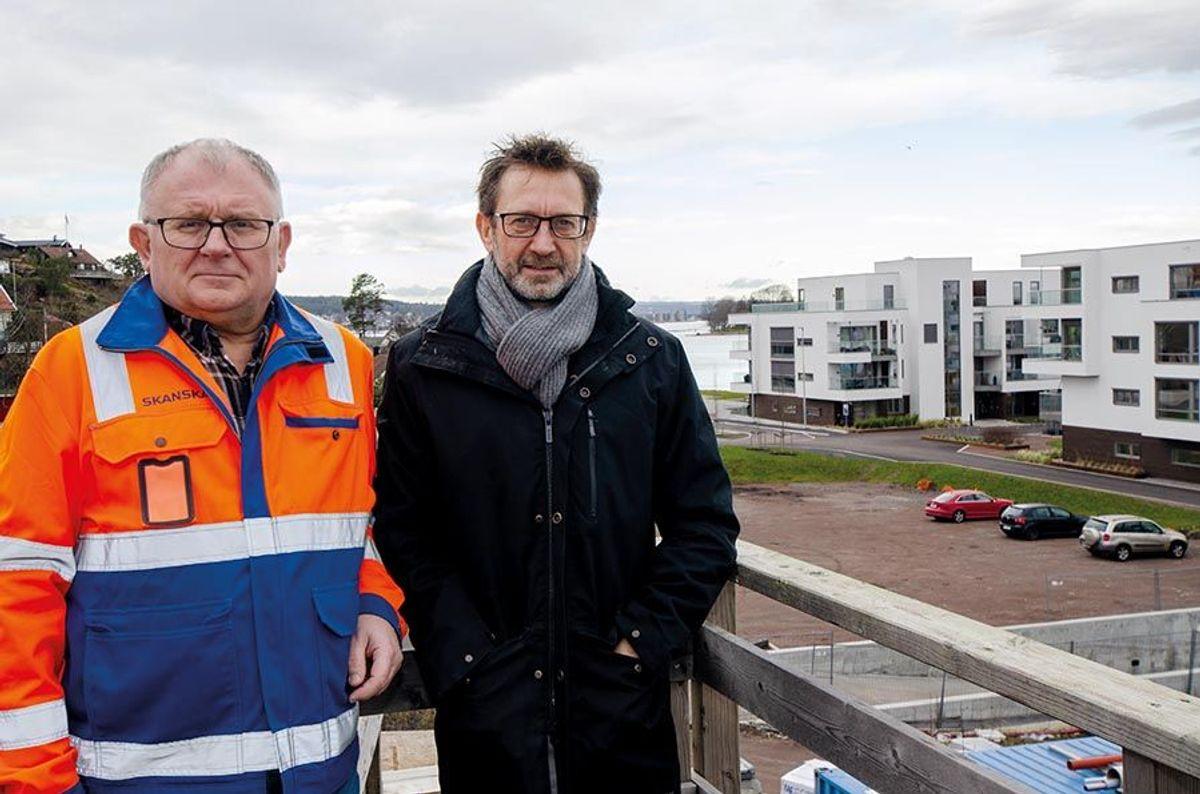 Skanska-prosjektleder Ove Kjærvik (til venstre) og Avantor-prosjektleder Geir Thoresen er godt fornøyde med de første to byggetrinnene i Husøy Havn.