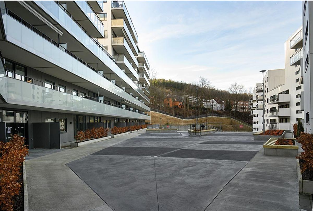 Kværnertoppen i Kværnerbyen, Oslo, 11. februar 2020. Byggherre: OBOS Kværnerbyen Totalentreprenør: Vedal Entreprenør Arkitekt: Løvseth + Partner LARK: Dronninga Landskap