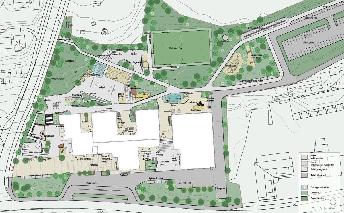 Skolen planlegges med stort uteområde. Illustrasjon: Ola Roald Arkitektur / Streken arkitekter