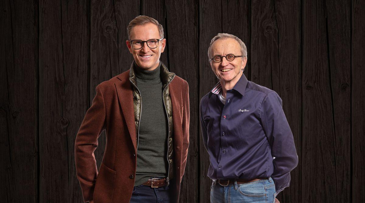 Hytteserien er designet av Halvor Bakke (til venstre) og BoligPartner-arkitekt Idar Sambu. Foto: BoligPartner