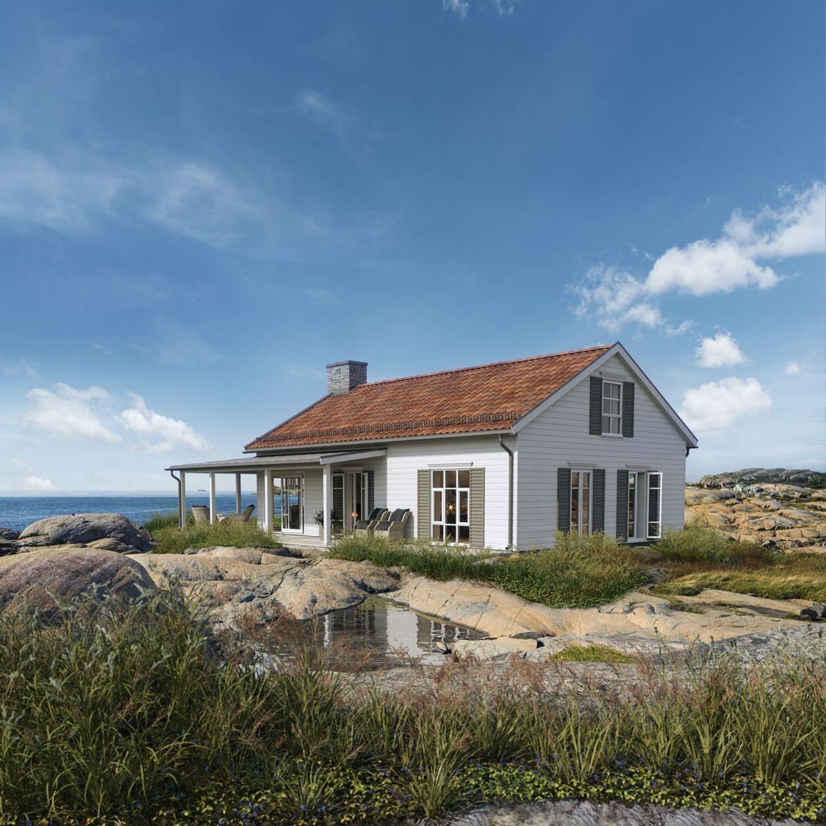 Den nye hytteserien består av to sjøhytter og to fjellhytter. Illustrasjon: BoligPartner