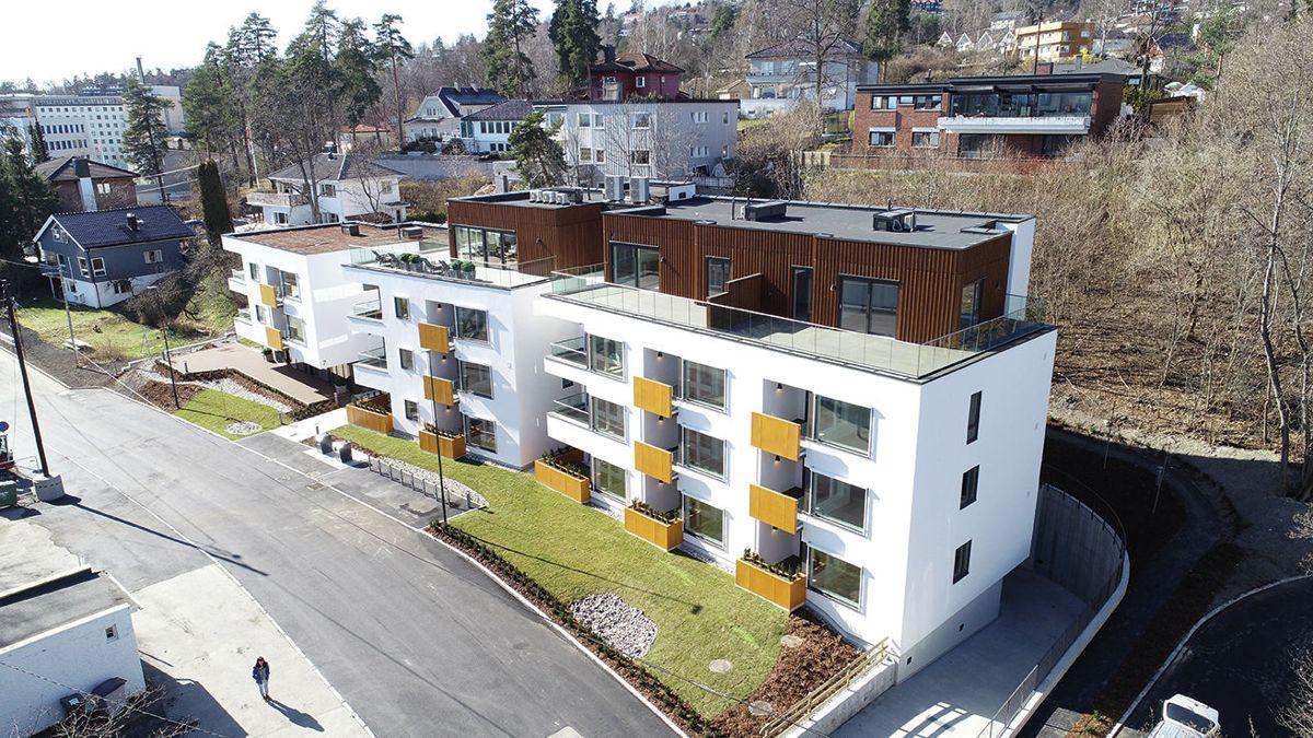 To av de 18 leilighetene har egen takterrasse. Foto: Axer Eiendom