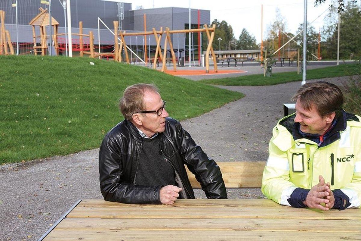 Prosjektleder Øivind Ødegaard og formann Geir Magne Pedersen i NCC Construction.