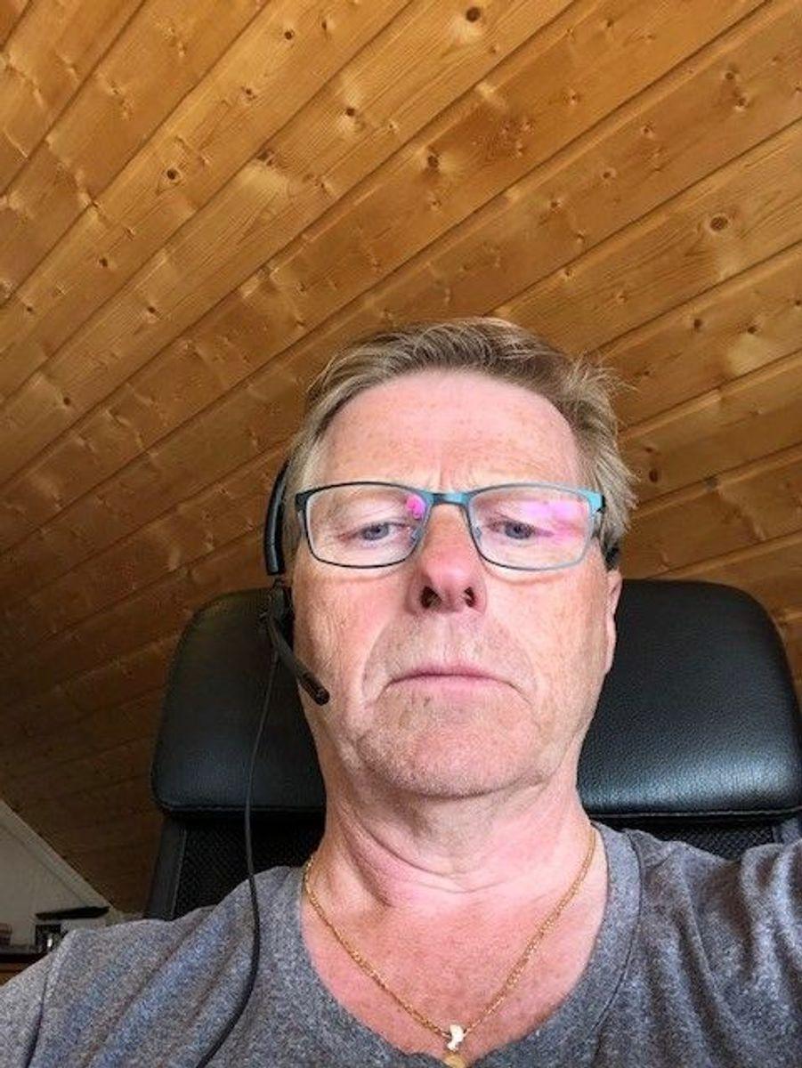 Odd Dørum i Norgips har hjemmekontor.