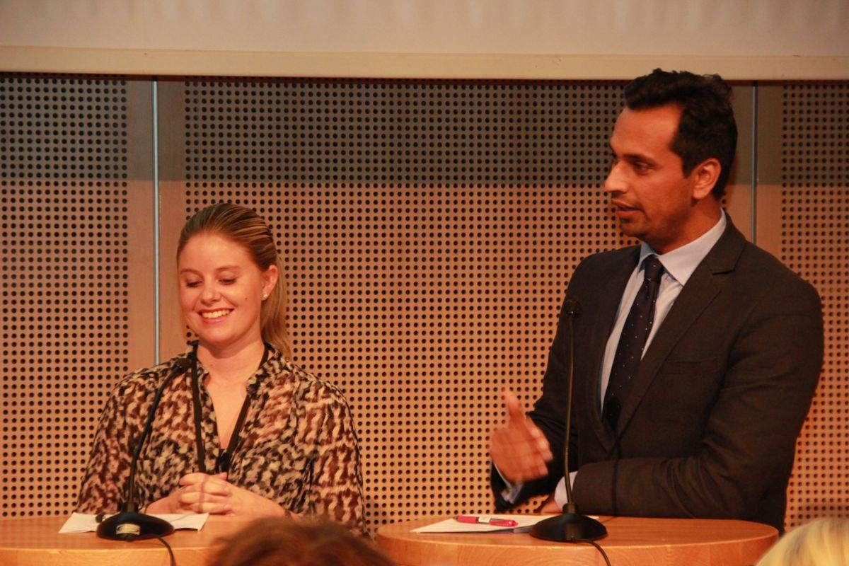Ap-politiker Anna Ljunggren og Mudassar Kapur fra Høyre deltok på seminaret om grønne bygg under Zerokonferansen. (Foto: Svanhild Blakstad)