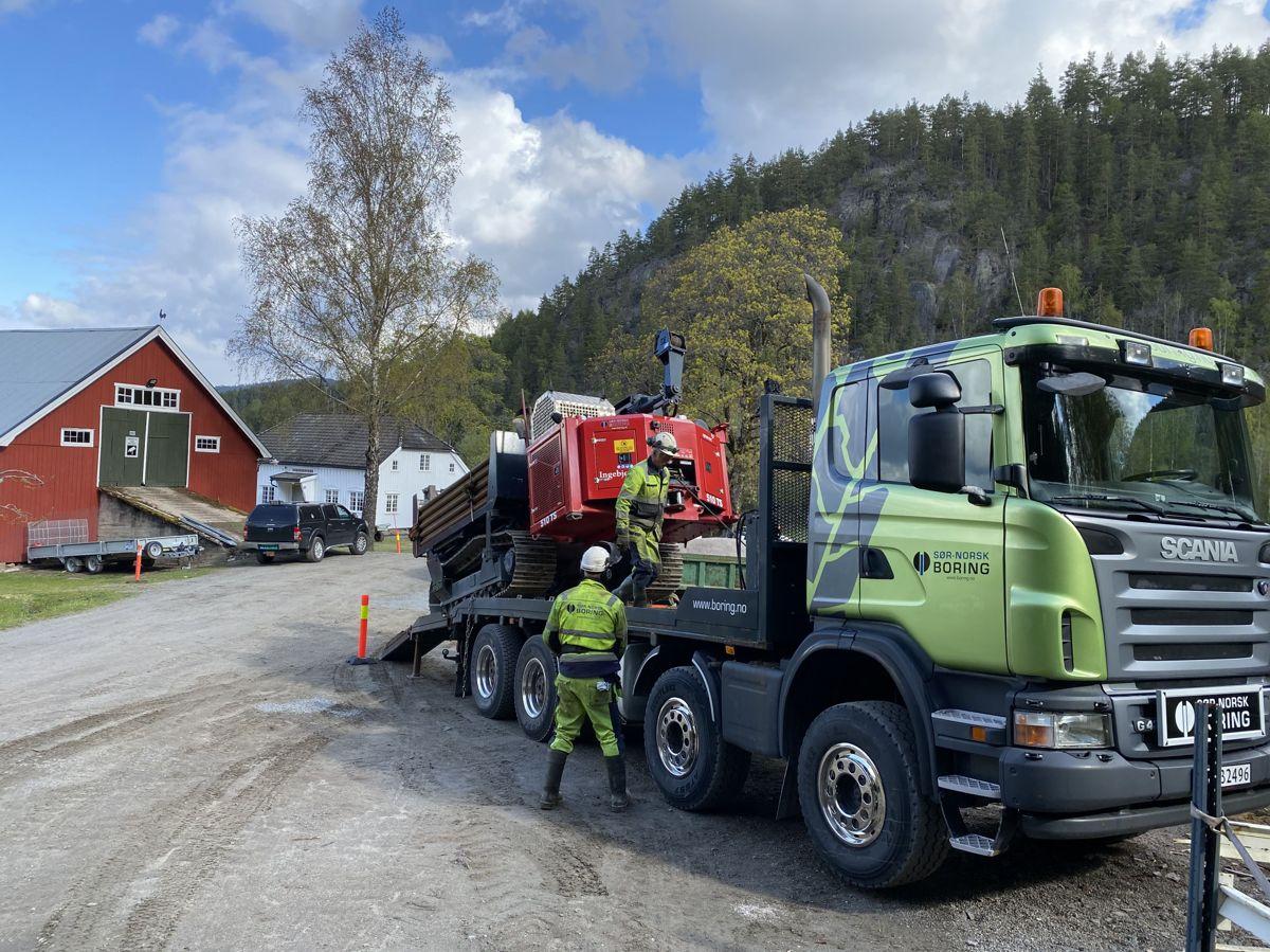 Den praktiske delen av fagprøven ble gjennomført i Nome i Telemark. Foto: Sør-Norsk boring