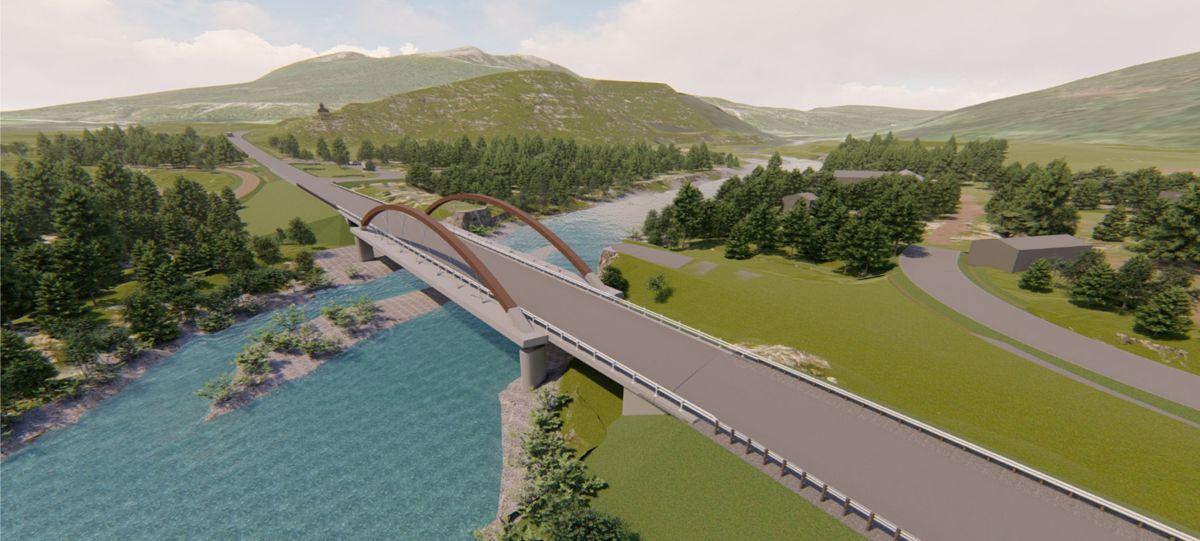 Ny bru, sett i retning mot rasteplassområdet ved elva Einunna. Illustrasjon: Statens vegvesen