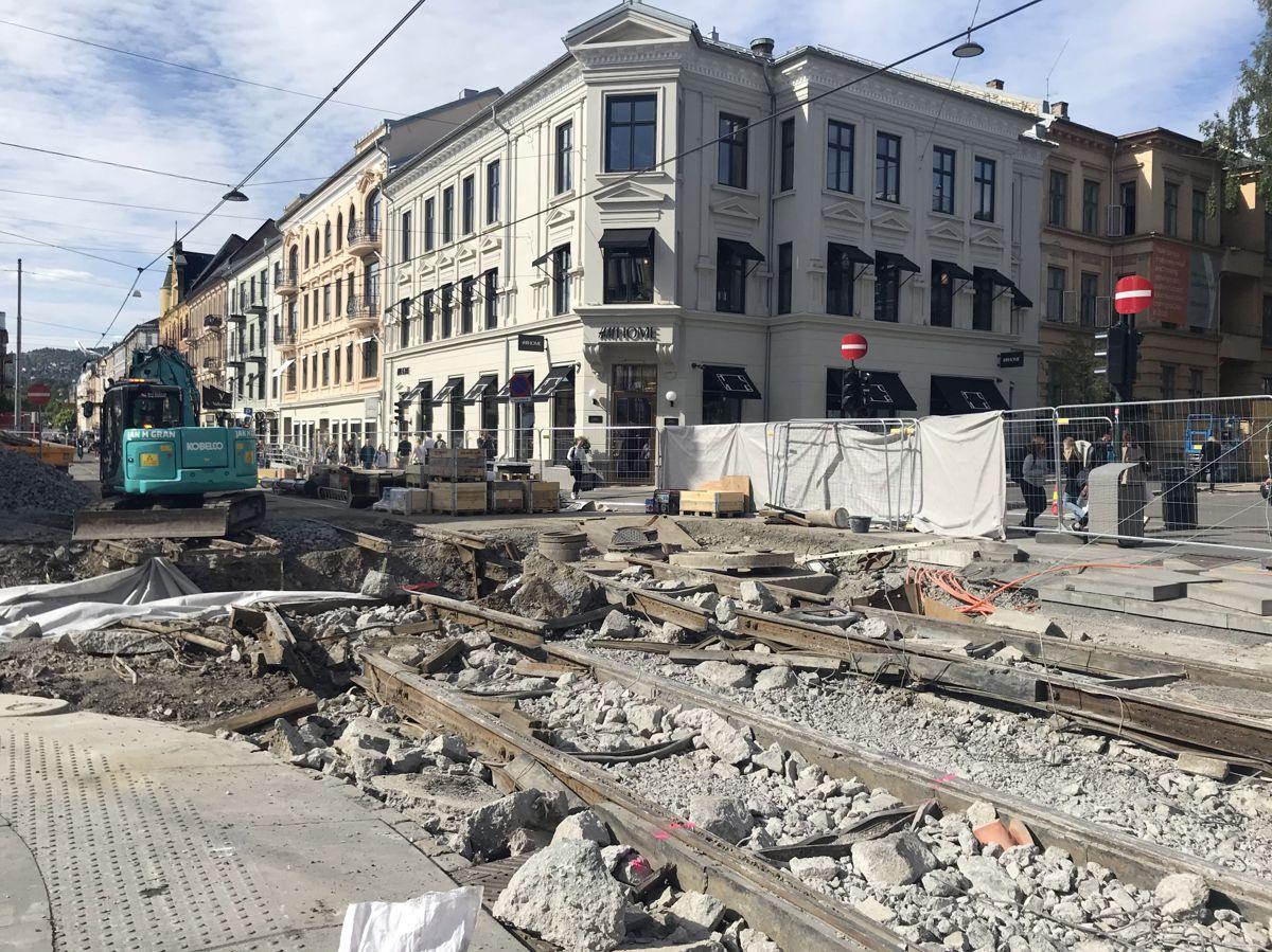 Anleggsarbeider på Majorstuen. Foto: Svanhild Blakstad