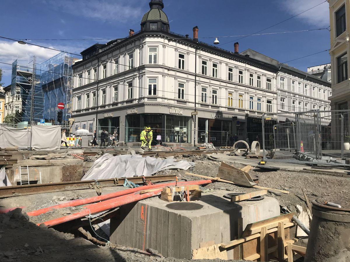 Omfattende anleggsarbeider pågår på Majorstuen i forbindelse med Trikkeprogrammet i Oslo kommune, samt utskifting av mer enn hundre år gamle vann- og avløpsrør. Foto: Svanhild Blakstad