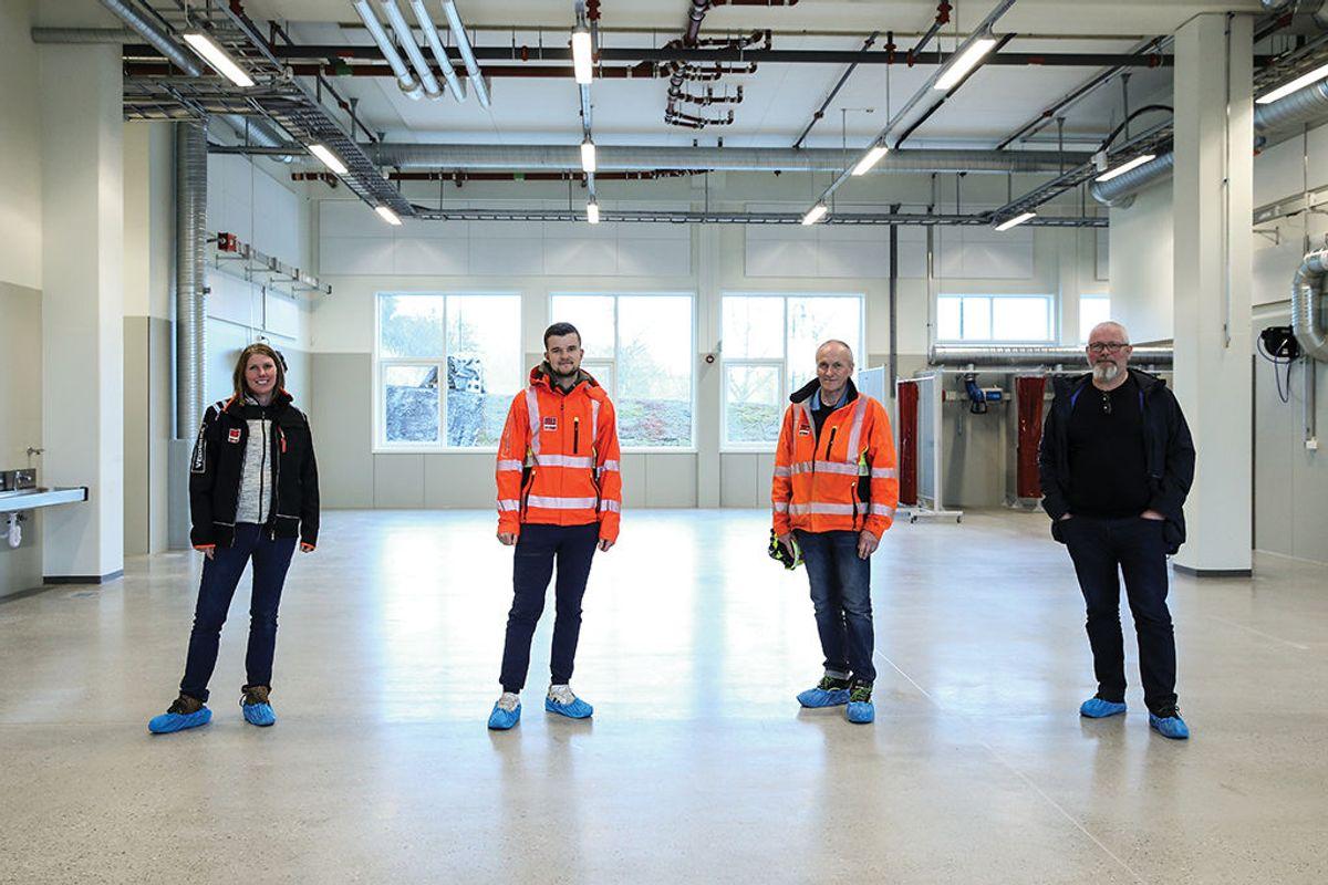 Har jobbet med prosjektet: Veidekke-ansatte i Ålesund som har hatt viktige oppgaver i forbindelse med byggingen. Fra venstre Therese Osvik (prosjekteringsleder), Joachim Sætren (prosjektstøtte), Magne Slyngstad (anleggsleder) og Frode Kleiva (prosjektleder).
