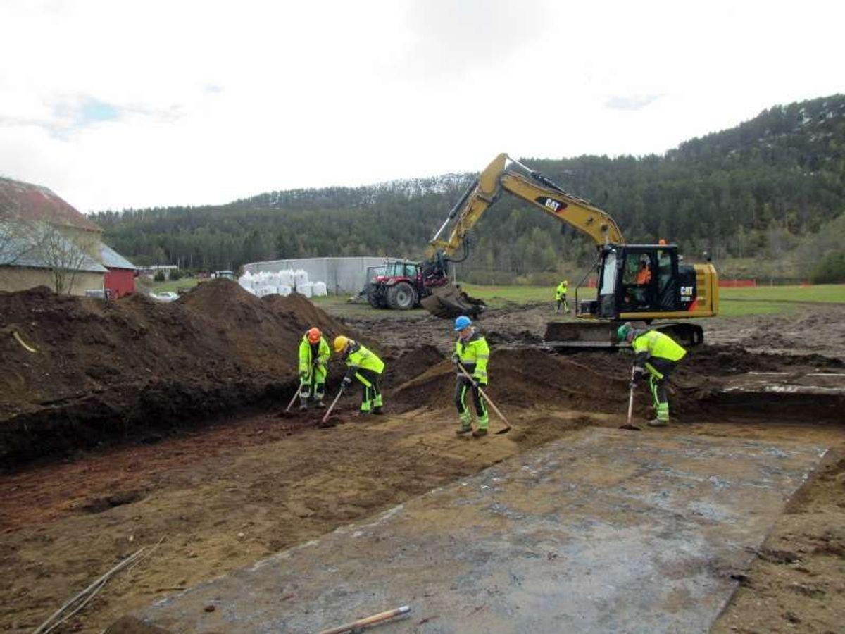 Arkeologene graver frem en av to bunkere fra andre verdenskrig ved Fjelnset. De lokalkjente har visst om bunkerne, men til nå har de ikke vært synlige på overflaten. Foto: Johanne Ranvik, Statens vegvesen