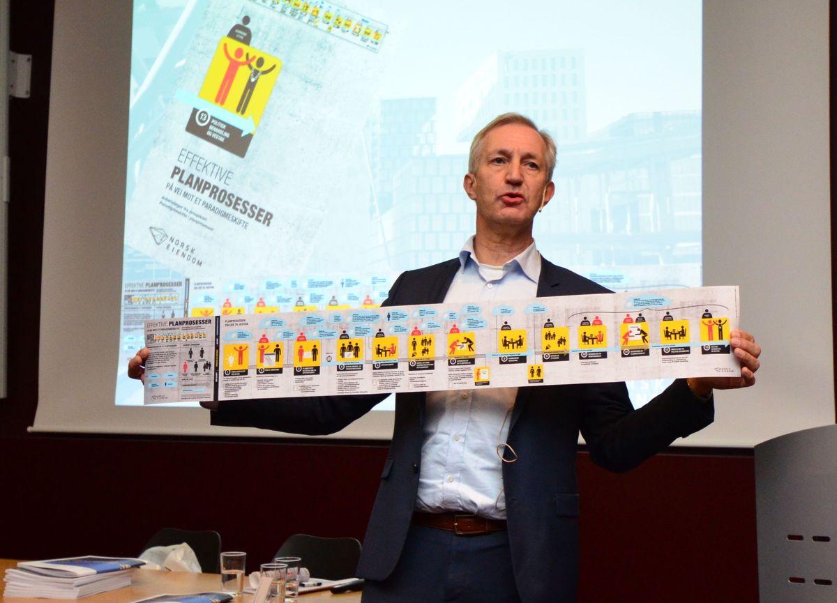 Administrerende direktør i Norsk Eiendom, Thor Olaf Askjer, presenterte mandag rapporten «Effektive planprosesser», sammen med en 13-trinns oversikt over velfungerende planprosesser.
