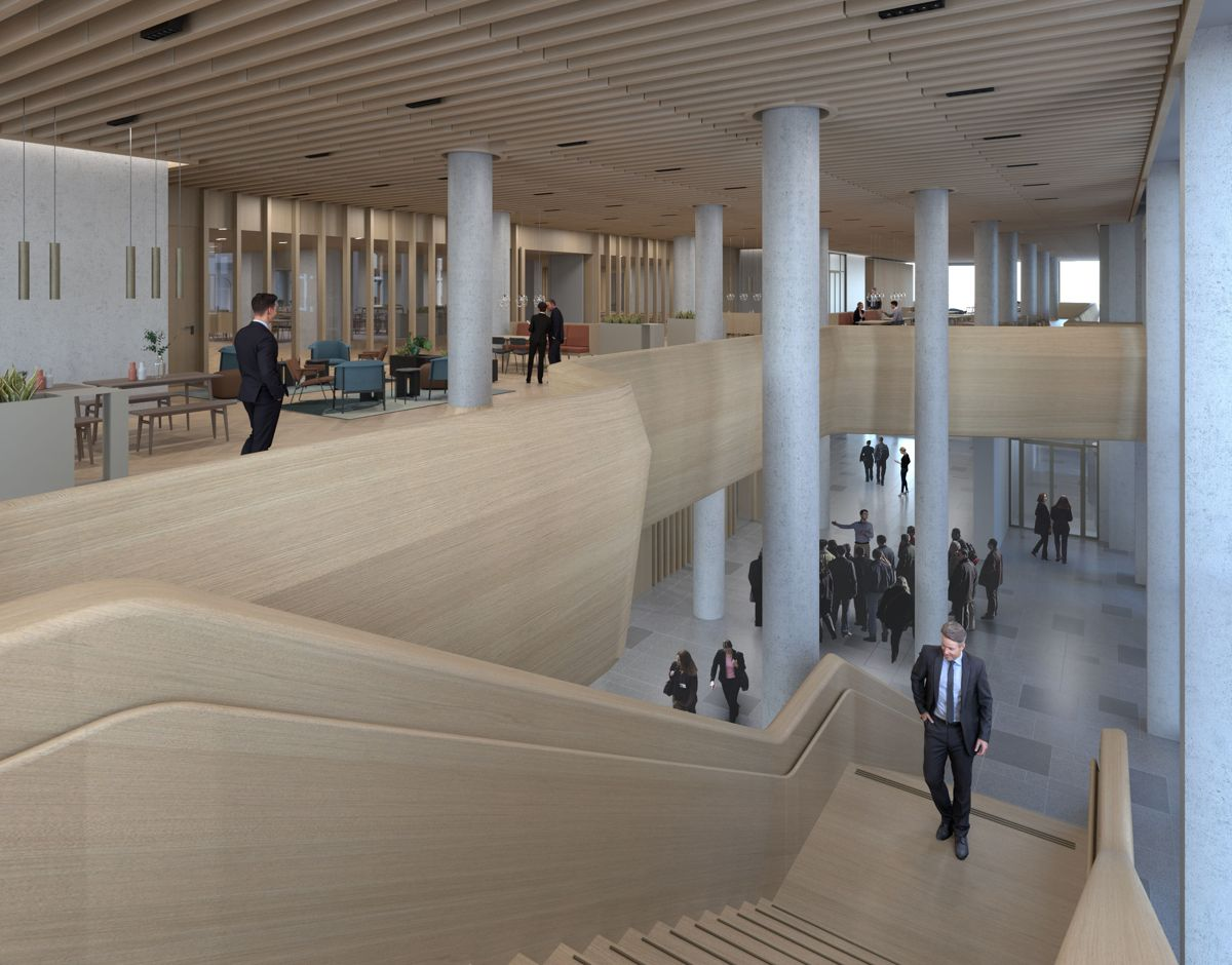 Tre vil få stor plass i fellesarealer i det nye regjeringskvartalet. Illustrasjon: Team Urbis/Statsbygg