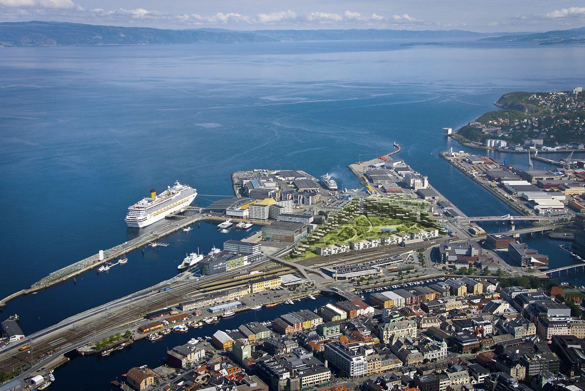 Trondheim havn/Brattøra. Illustrasjon: Arkitektfirmaet Narud Stokke Wiig / Rift