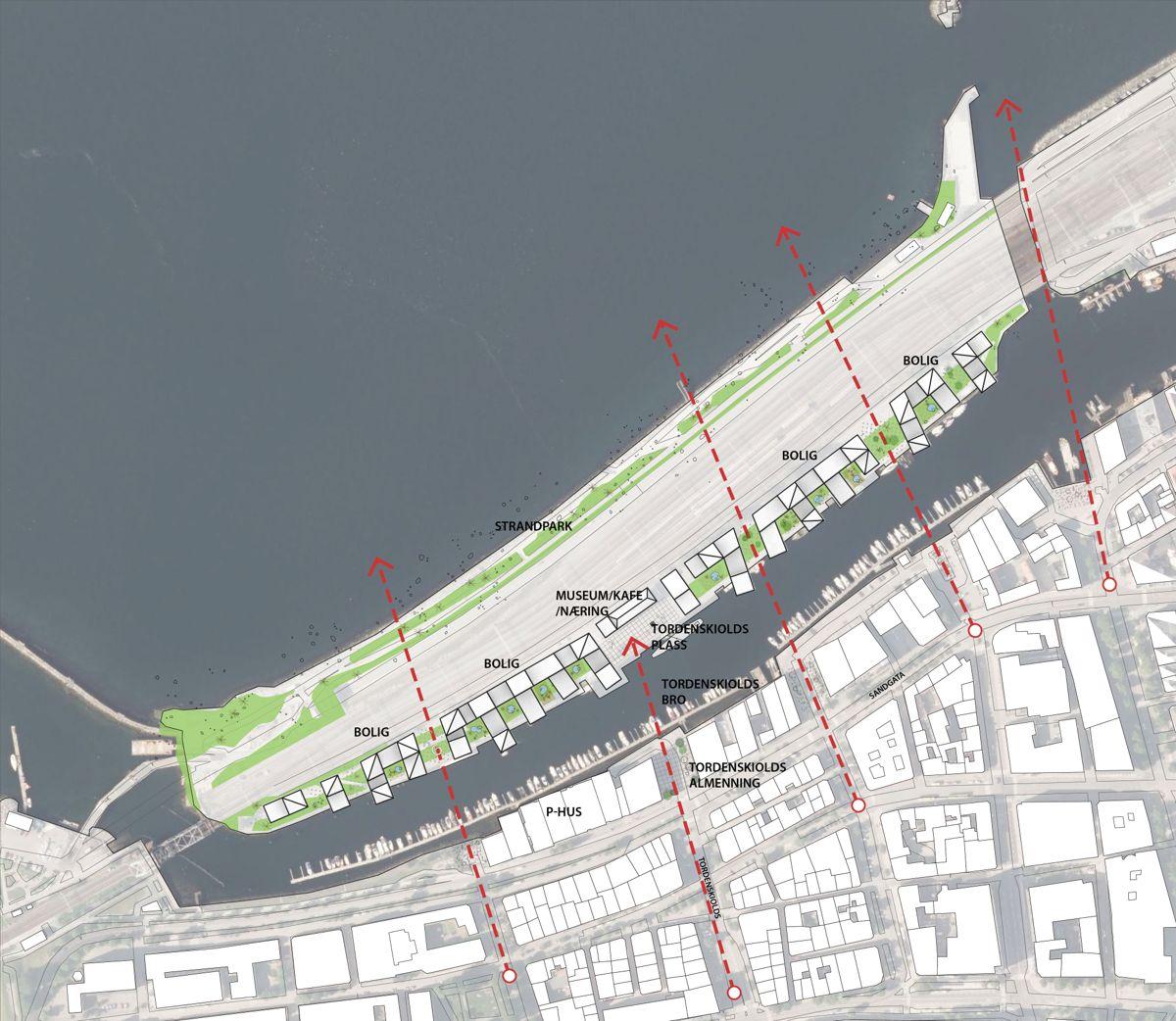 Situasjonsplan Vestre kanal. Illustrasjon: Arkitektfirmaet Narud Stokke Wiig / Rift