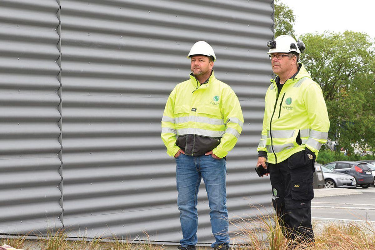 Fra v. Byggmester Sagens prosjektleder Karl Ove Kolstø og formann Rolf Torgersen.