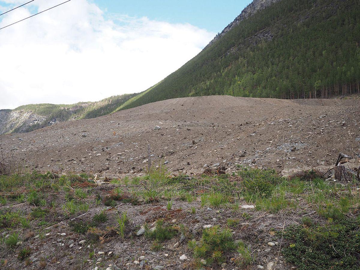 Fjellmassene er nå dekket med jord. Her vil det etter hvert bli naturlig vegetasjon.