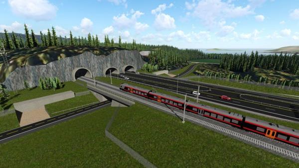 Illustrasjon: Fellesprosjektet Ringeriksbanen og E16.