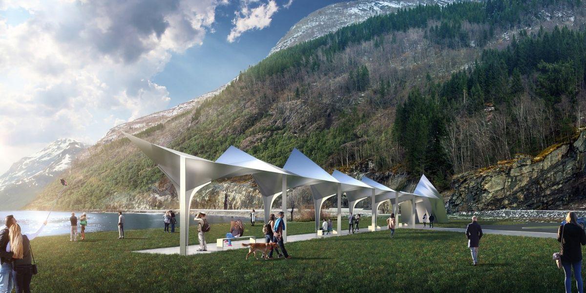Rasteplass med toalett på Espeneset ved Sørfjorden i Hardanger. Prosjektet startes i 2020 og fullføres i 2021. Illustrasjon: Code.