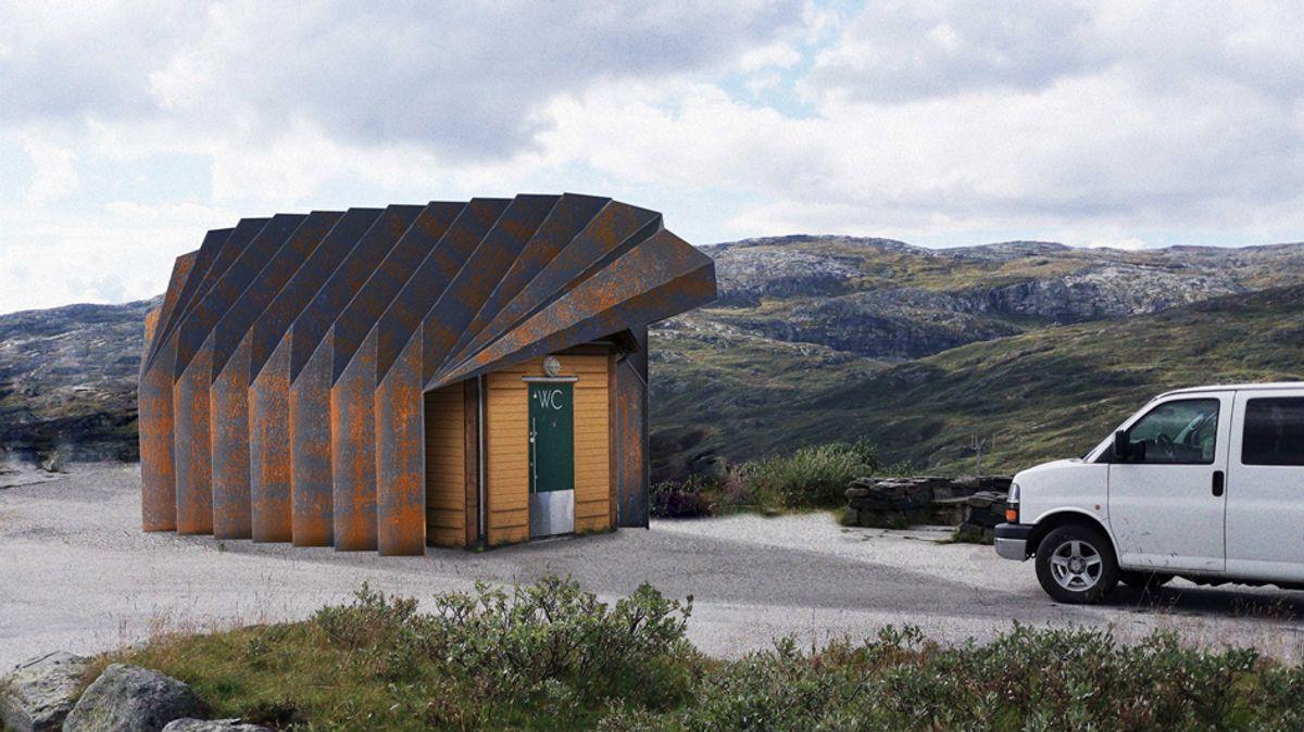 Oscarshaug, Sognefjellet. Forbedringer av toalett og rasteplass. Prosjektet fullføres i 2020. Arkitekt og illustrasjon: Jensen & Skodvin.