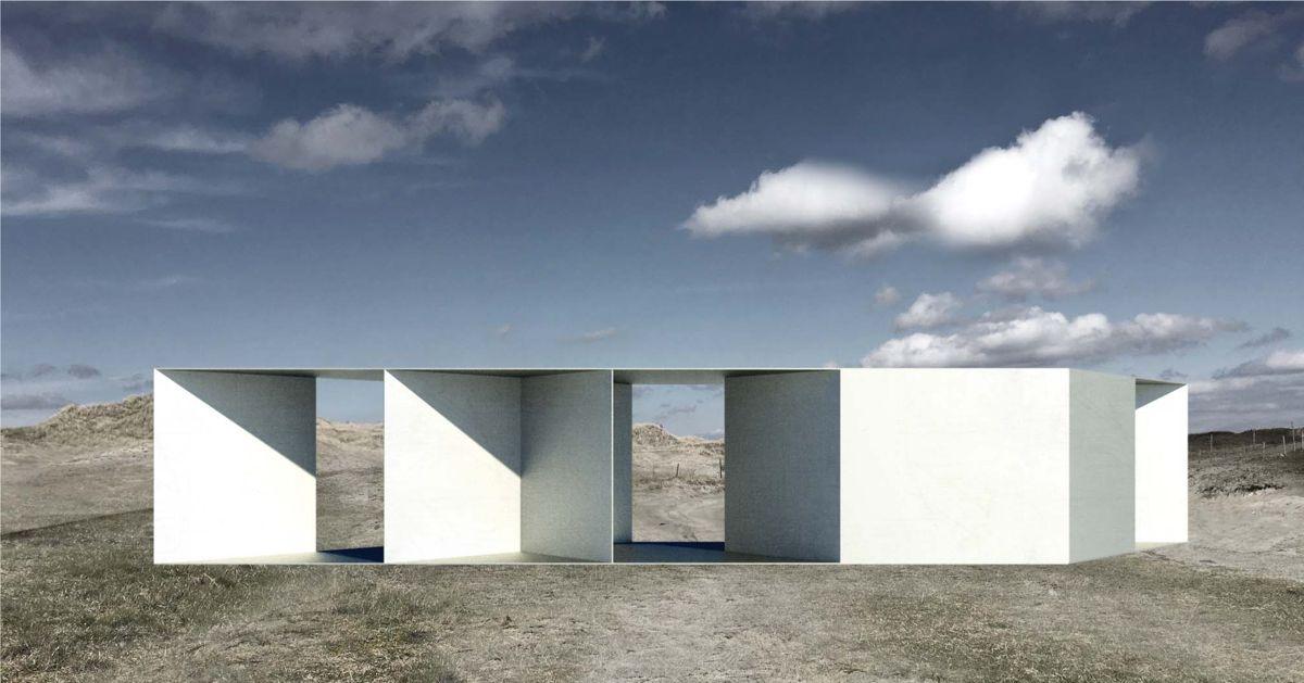 Refnesstranda, Jæren. Toalett og parkering ved friluftsområde. Fullføres i 2020. Arkitekt og illustrasjon: Lie Øyen