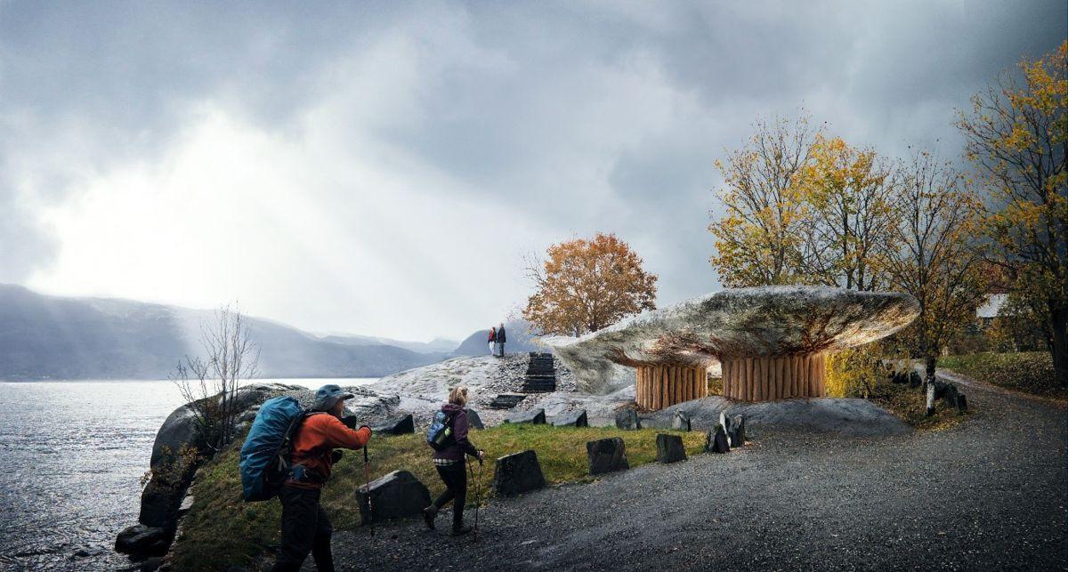 Tyrvefjøra, Hardanger. Toalett på rasteplass ved fjorden. Prosjektet startes opp i 2020 og fullføres i 2021. Arkitekt og illustrasjon: Helen & Hard.