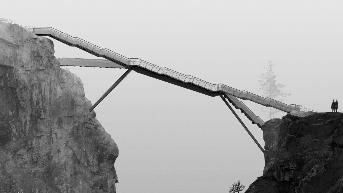 Etappe to av turistveitiltaket ved Vøringsfossen består av en spektakulær trappebru med utsiktspunkt og sti. Brua blir montert i slutten av juni og tiltaket fullføres i 2020. Arkitekt og illustrasjon: Carl-Viggo Hølmebakk