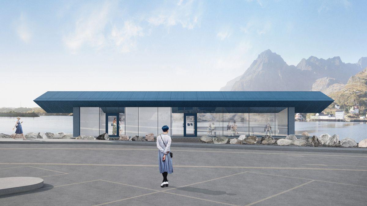 Ved ferjeleie i Moskenes i Lofoten skal det i 2020 fullføres et nytt bygg med toalett og venterom. Arkitekt og illustrasjon: Vardehaugen