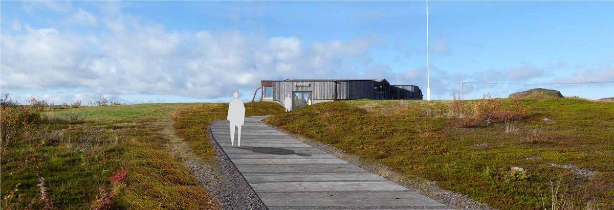 Mortensneset, Varanger. Parkering og uteområde ved Varanger Samiske Museum. Prosjektet er under arbeid og fullføres i 2020. Arkitekt og illustrasjon: Inge Dahlman